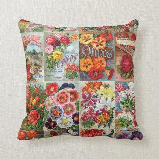 Collage del jardín de los paquetes de la semilla cojín