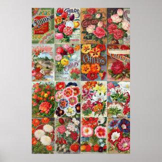 Collage del jardín de los paquetes de la semilla poster