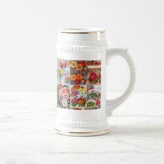 Collage del jardín de los paquetes de la semilla jarra de cerveza