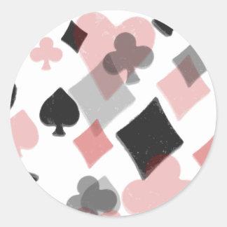 Collage del juego de la tarjeta del vintage - rojo pegatina redonda