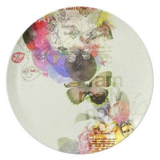 Collage del kitsch en amarillo platos