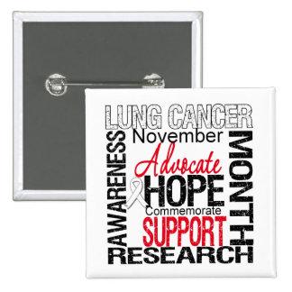 Collage del mes de la conciencia del cáncer de pul pin cuadrada 5 cm