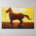 Collage del mosaico del montaje del caballo impresiones