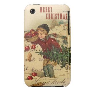 Collage del navidad del vintage de las Felices iPhone 3 Fundas