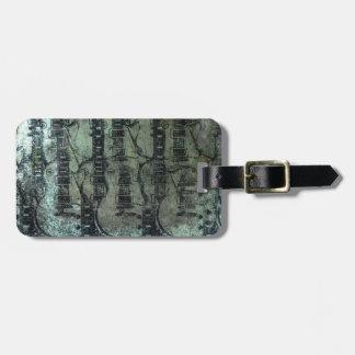 Collage del negro del verde del trullo de la guita etiquetas maleta