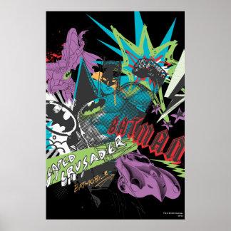 Collage del neón del cruzado de Batman Caped Poster