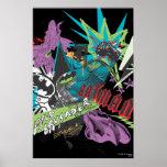 Collage del neón del cruzado de Batman Caped Póster