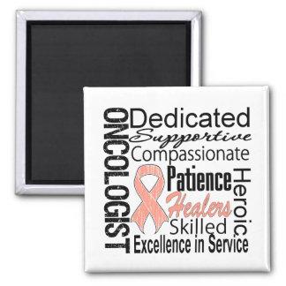 Collage del oncólogo del cáncer endometrial imán cuadrado