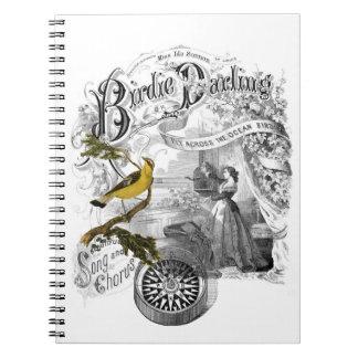 Collage del pájaro del vintage libreta espiral