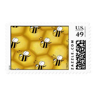 Collage del panal de la abeja sello postal