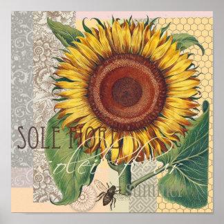 Collage del papel pintado del damasco del vintage póster