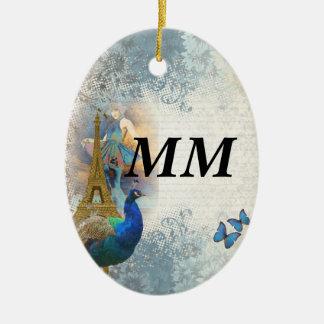 Collage del pavo real de París Adorno Navideño Ovalado De Cerámica