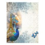 Collage del pavo real de París Membrete Personalizado