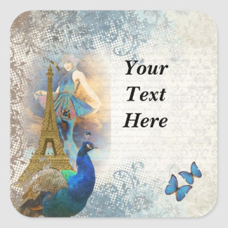 Collage del pavo real de París Pegatina Cuadrada