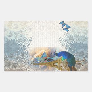 Collage del pavo real de París Pegatina Rectangular