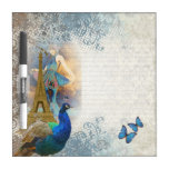 Collage del pavo real de París Pizarras Blancas De Calidad