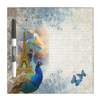Collage del pavo real de París Pizarras Blancas
