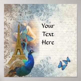 Collage del pavo real de París Póster