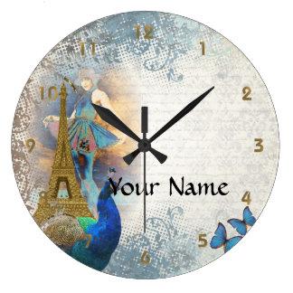 Collage del pavo real de París Reloj Redondo Grande