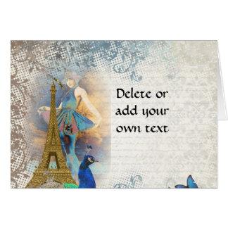 Collage del pavo real de París Tarjeta De Felicitación
