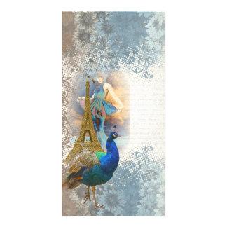 Collage del pavo real de París Tarjeta Personal Con Foto
