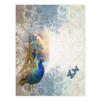Collage del pavo real de París Tarjeta Postal