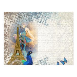 Collage del pavo real de París Tarjetas Postales
