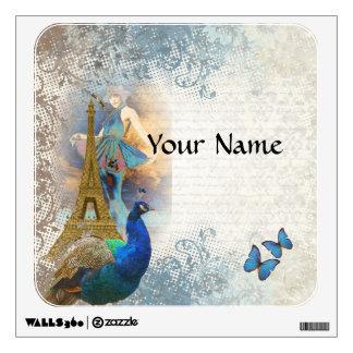 Collage del pavo real de París Vinilo