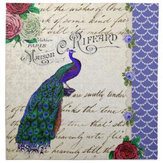 Collage del pavo real del vintage servilletas