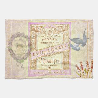 Collage del perfume de la lavanda francesa del toalla de cocina