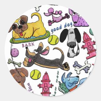 Collage del perrito pegatina redonda
