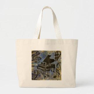 Collage del piano de cola bolsa tela grande