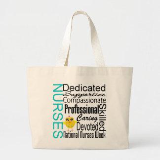 Collage del reconocimiento de las enfermeras - el  bolsa tela grande