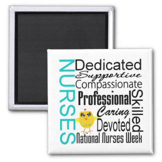Collage del reconocimiento de las enfermeras - el  imán cuadrado