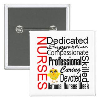Collage del reconocimiento de las enfermeras:  El Pin Cuadrado