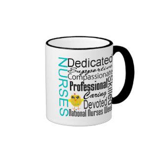 Collage del reconocimiento de las enfermeras - el  tazas de café