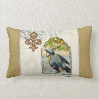 Collage del remolino del pájaro cantante de la flo cojin