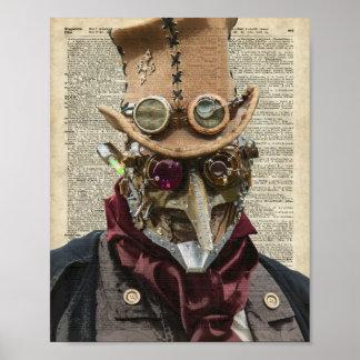 Collage del robot de Steampunk sobre la página Póster