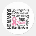 Collage del superviviente del cáncer de pecho pegatina