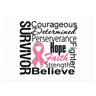 Collage del superviviente del cáncer de pecho postal