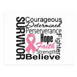 Collage del superviviente del cáncer de pecho tarjetas postales