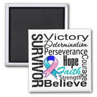 Collage del superviviente del cáncer de tiroides imán cuadrado