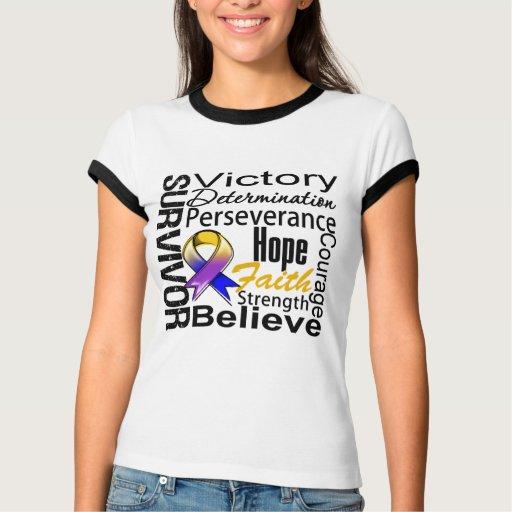 Collage del superviviente del cáncer de vejiga tee shirt