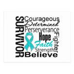 Collage del superviviente del cáncer ovárico tarjeta postal