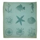 Collage del tema del océano del vintage bandana