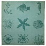 Collage del tema del océano del vintage servilleta