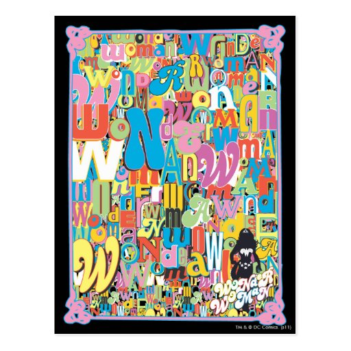 Collage del texto de la Mujer Maravilla Postales
