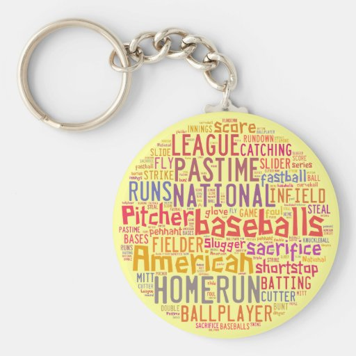 Collage del texto del béisbol llaveros
