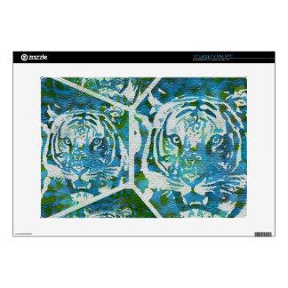 Collage del tigre del verde azul calcomanía para portátil