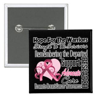 Collage del tributo de la esperanza del cáncer de  pin cuadrada 5 cm